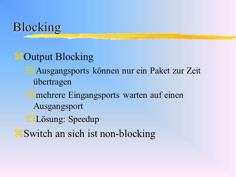 Blocking zOutput Blocking yAusgangsports können nur ein Paket zur Zeit übertragen ymehrere Eingangsports warten auf einen Ausgangsport yLösung: Speedu