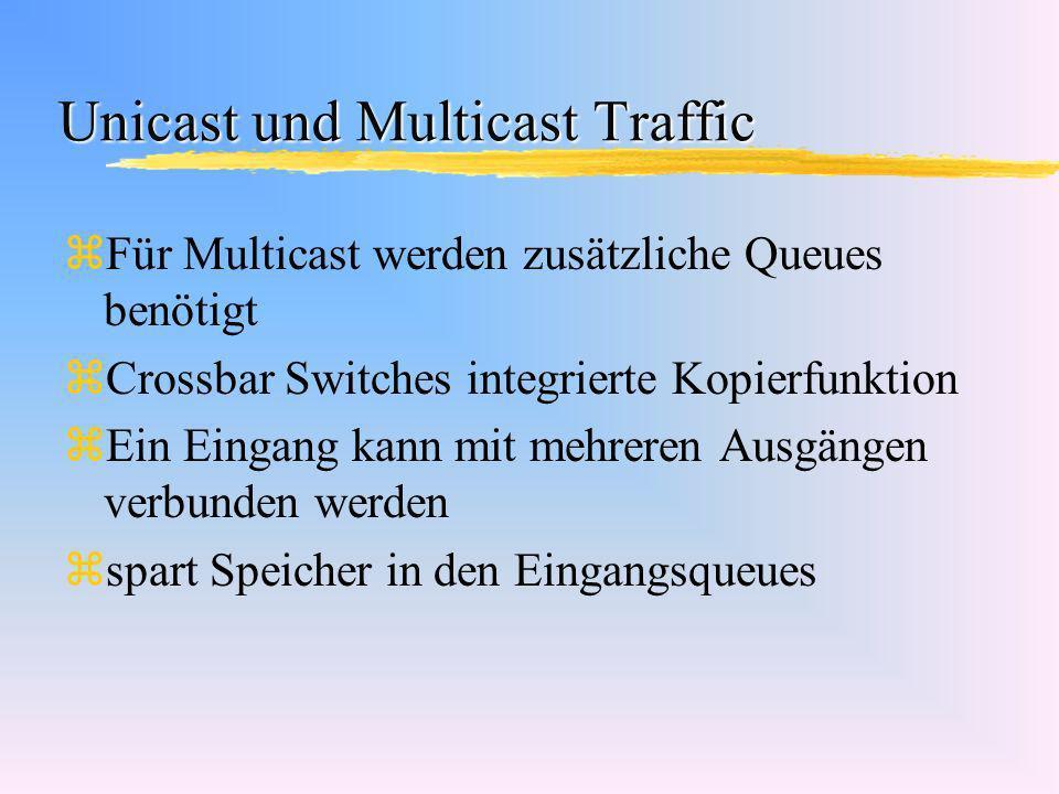 Unicast und Multicast Traffic zFür Multicast werden zusätzliche Queues benötigt zCrossbar Switches integrierte Kopierfunktion zEin Eingang kann mit me