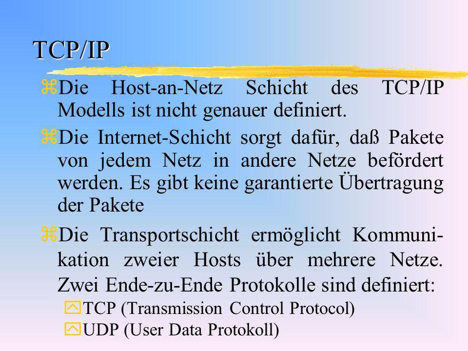 TCP/IP zDie Host-an-Netz Schicht des TCP/IP Modells ist nicht genauer definiert. zDie Internet-Schicht sorgt dafür, daß Pakete von jedem Netz in ander