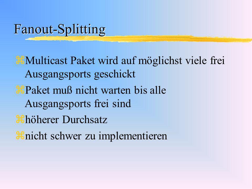 Fanout-Splitting zMulticast Paket wird auf möglichst viele frei Ausgangsports geschickt zPaket muß nicht warten bis alle Ausgangsports frei sind zhöhe