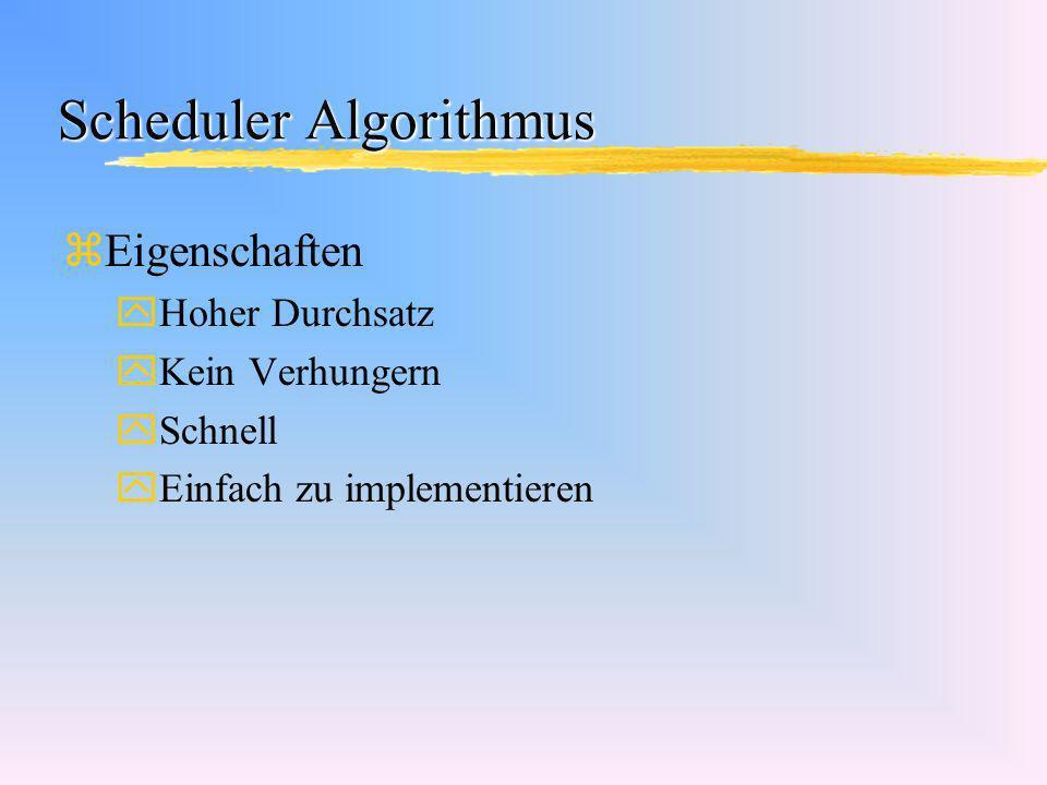 Scheduler Algorithmus zEigenschaften yHoher Durchsatz yKein Verhungern ySchnell yEinfach zu implementieren