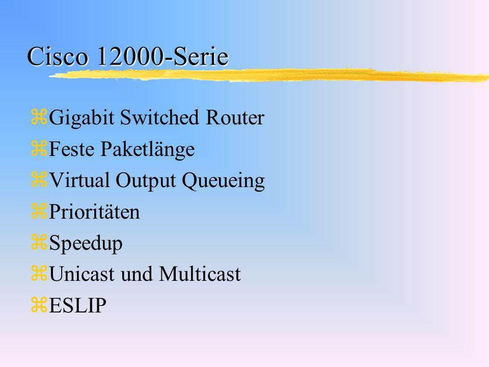 Cisco 12000-Serie zGigabit Switched Router zFeste Paketlänge zVirtual Output Queueing zPrioritäten zSpeedup zUnicast und Multicast zESLIP