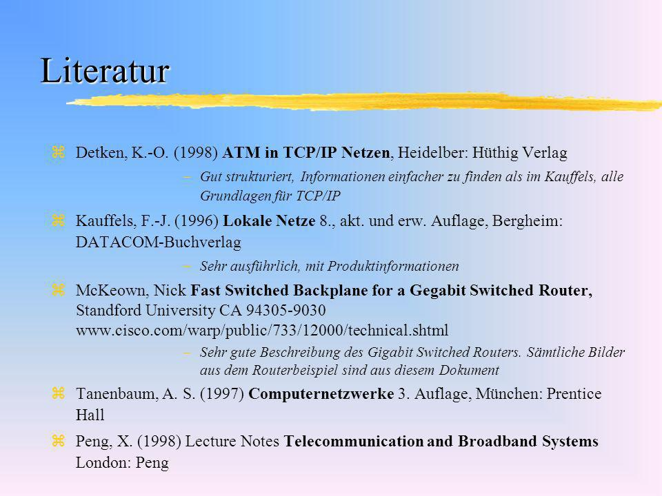Literatur zDetken, K.-O. (1998) ATM in TCP/IP Netzen, Heidelber: Hüthig Verlag –Gut strukturiert, Informationen einfacher zu finden als im Kauffels, a