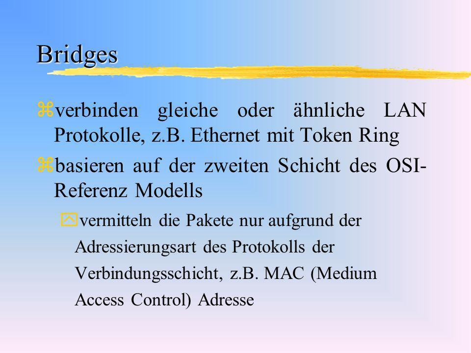 Bridges zverbinden gleiche oder ähnliche LAN Protokolle, z.B. Ethernet mit Token Ring zbasieren auf der zweiten Schicht des OSI- Referenz Modells yver