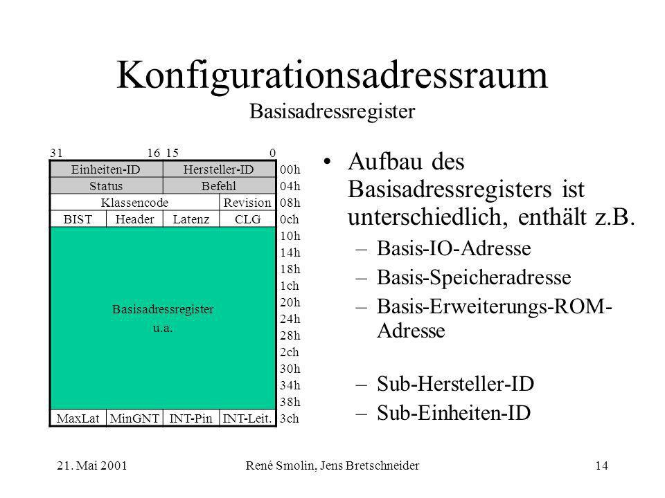 21. Mai 2001René Smolin, Jens Bretschneider14 Konfigurationsadressraum Basisadressregister Aufbau des Basisadressregisters ist unterschiedlich, enthäl