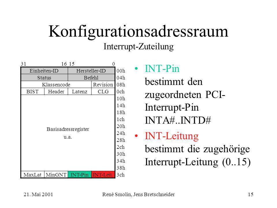 21. Mai 2001René Smolin, Jens Bretschneider15 Konfigurationsadressraum Interrupt-Zuteilung INT-Pin bestimmt den zugeordneten PCI- Interrupt-Pin INTA#.