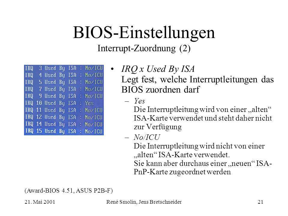 21. Mai 2001René Smolin, Jens Bretschneider21 BIOS-Einstellungen Interrupt-Zuordnung (2) (Award-BIOS 4.51, ASUS P2B-F) IRQ x Used By ISA Legt fest, we