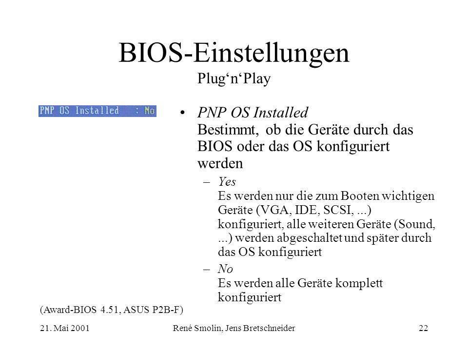 21. Mai 2001René Smolin, Jens Bretschneider22 BIOS-Einstellungen PlugnPlay PNP OS Installed Bestimmt, ob die Geräte durch das BIOS oder das OS konfigu
