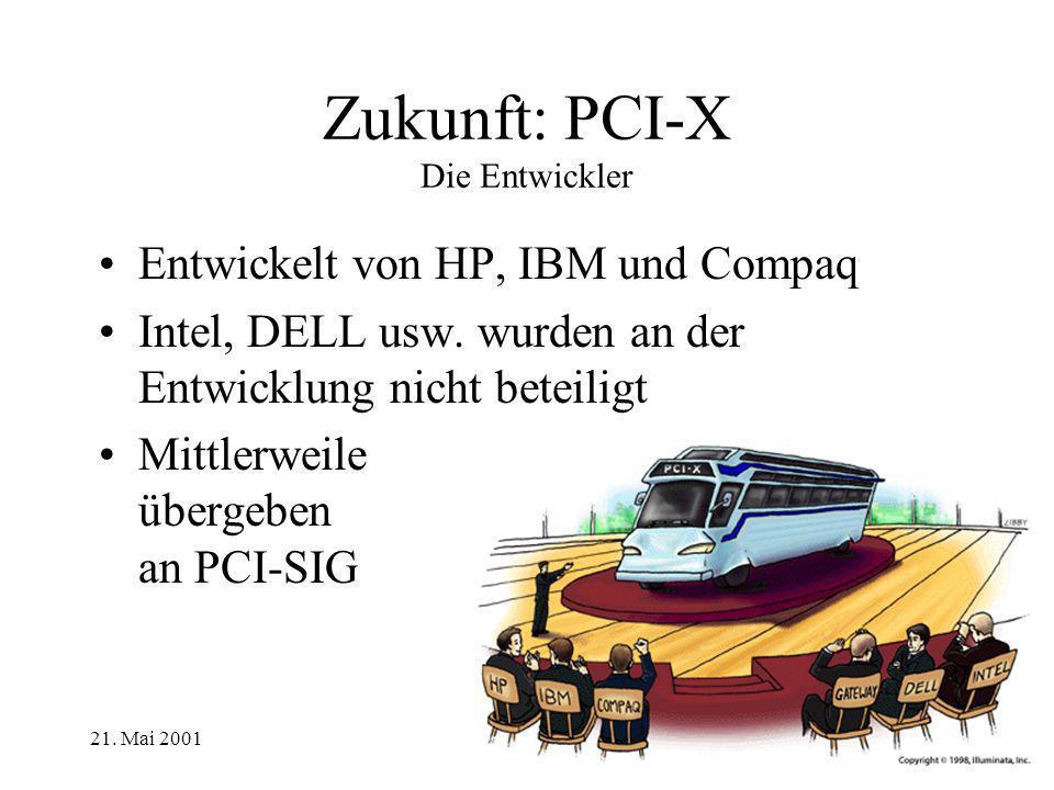 21. Mai 2001 Zukunft: PCI-X Die Entwickler Entwickelt von HP, IBM und Compaq Intel, DELL usw. wurden an der Entwicklung nicht beteiligt Mittlerweile ü