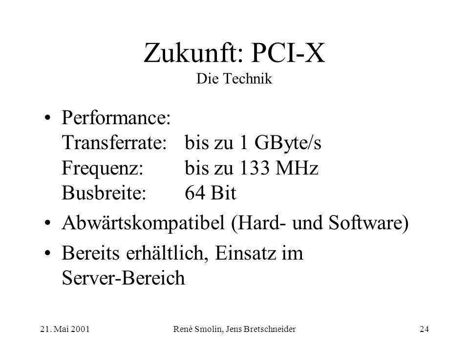 21. Mai 2001René Smolin, Jens Bretschneider24 Zukunft: PCI-X Die Technik Performance: Transferrate:bis zu 1 GByte/s Frequenz:bis zu 133 MHz Busbreite: