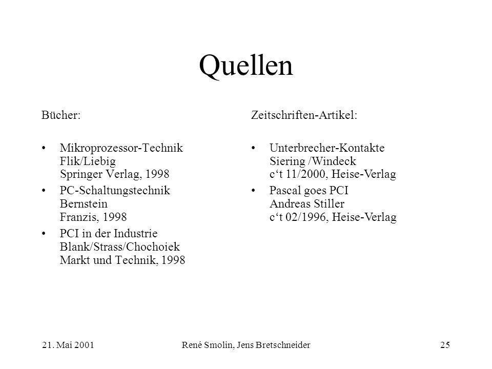 21. Mai 2001René Smolin, Jens Bretschneider25 Quellen Bücher: Mikroprozessor-Technik Flik/Liebig Springer Verlag, 1998 PC-Schaltungstechnik Bernstein