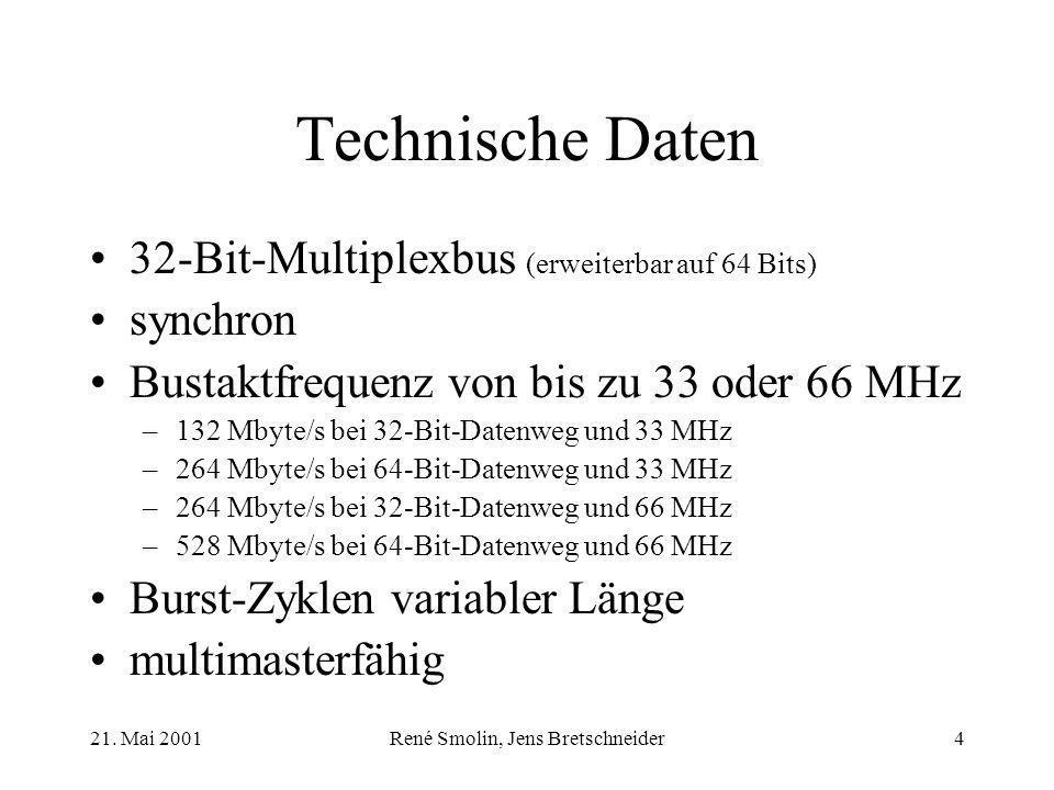 21. Mai 2001René Smolin, Jens Bretschneider4 Technische Daten 32-Bit-Multiplexbus (erweiterbar auf 64 Bits) synchron Bustaktfrequenz von bis zu 33 ode