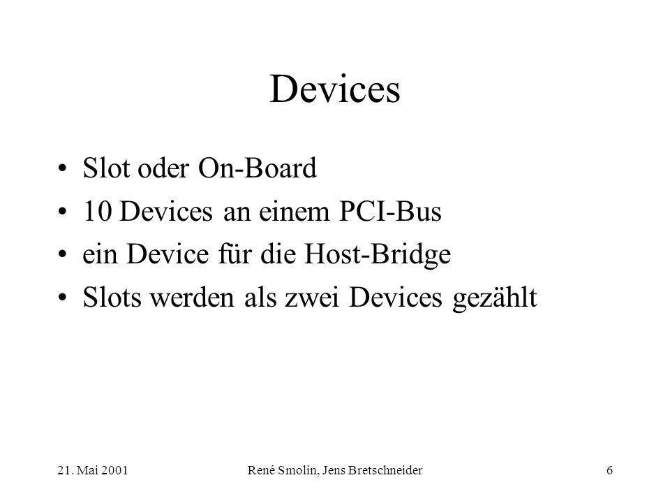 21. Mai 2001René Smolin, Jens Bretschneider6 Devices Slot oder On-Board 10 Devices an einem PCI-Bus ein Device für die Host-Bridge Slots werden als zw