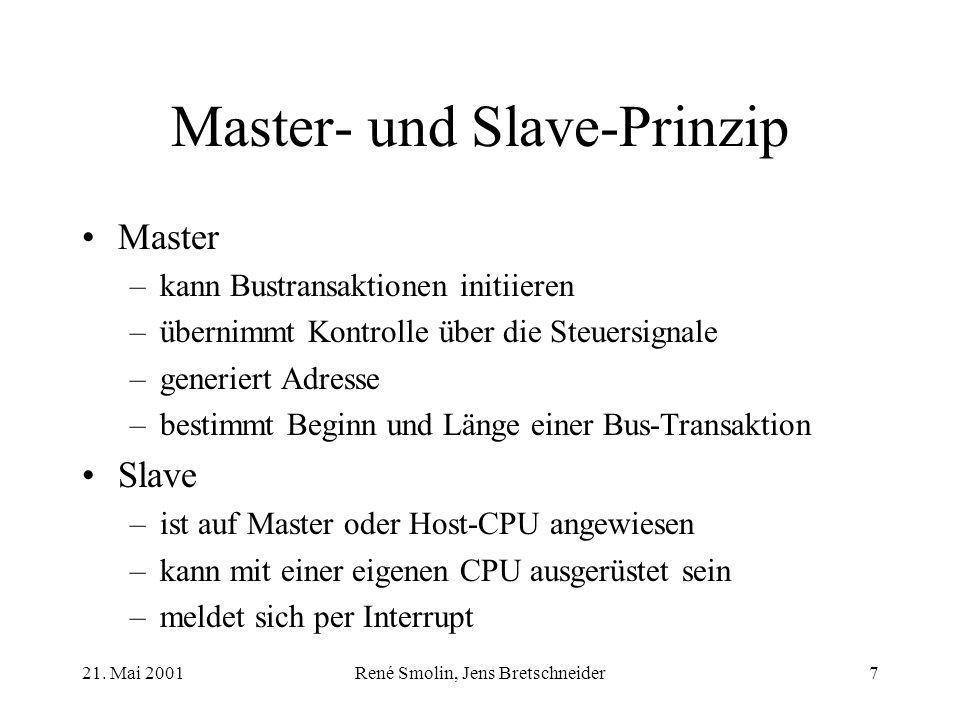 21. Mai 2001René Smolin, Jens Bretschneider7 Master- und Slave-Prinzip Master –kann Bustransaktionen initiieren –übernimmt Kontrolle über die Steuersi
