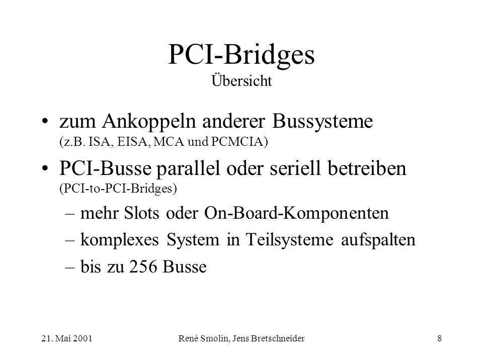 21. Mai 2001René Smolin, Jens Bretschneider8 PCI-Bridges Übersicht zum Ankoppeln anderer Bussysteme (z.B. ISA, EISA, MCA und PCMCIA) PCI-Busse paralle