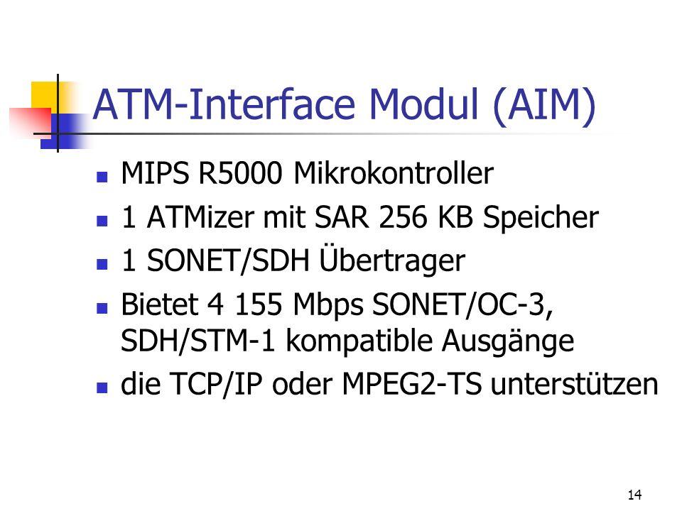 14 ATM-Interface Modul (AIM) MIPS R5000 Mikrokontroller 1 ATMizer mit SAR 256 KB Speicher 1 SONET/SDH Übertrager Bietet 4 155 Mbps SONET/OC-3, SDH/STM