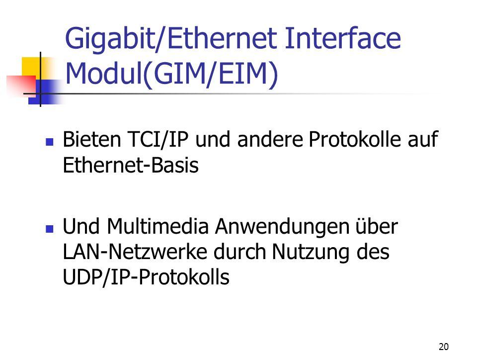 20 Gigabit/Ethernet Interface Modul(GIM/EIM) Bieten TCI/IP und andere Protokolle auf Ethernet-Basis Und Multimedia Anwendungen über LAN-Netzwerke durc