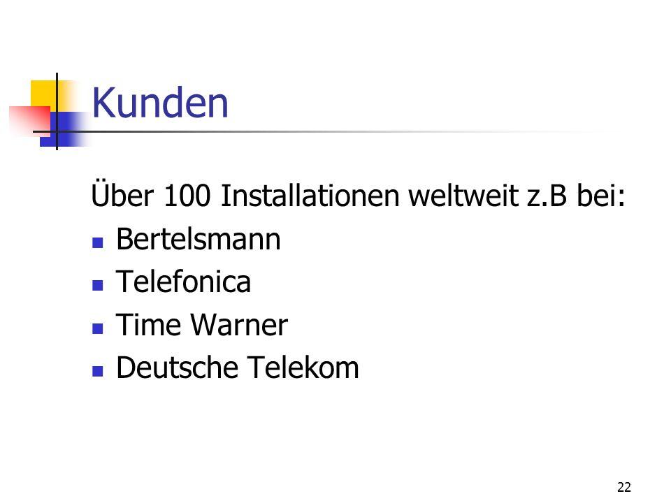 22 Kunden Über 100 Installationen weltweit z.B bei: Bertelsmann Telefonica Time Warner Deutsche Telekom