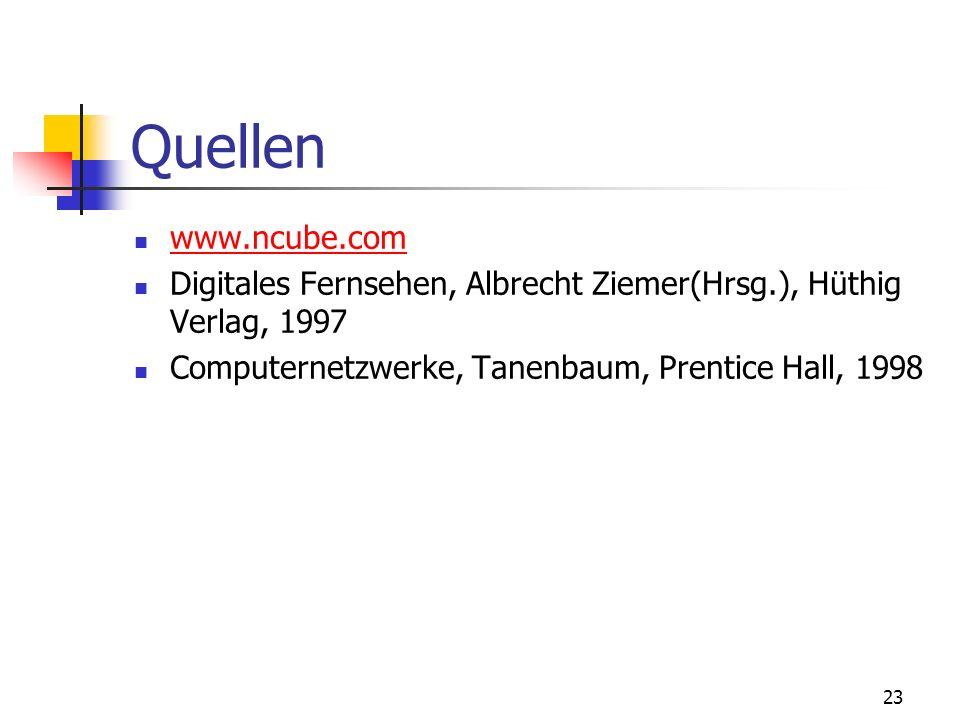 23 Quellen www.ncube.com Digitales Fernsehen, Albrecht Ziemer(Hrsg.), Hüthig Verlag, 1997 Computernetzwerke, Tanenbaum, Prentice Hall, 1998