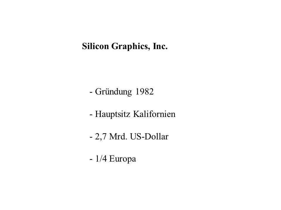 Silicon Graphics, Inc. - Gründung 1982 - Hauptsitz Kalifornien - 2,7 Mrd. US-Dollar - 1/4 Europa