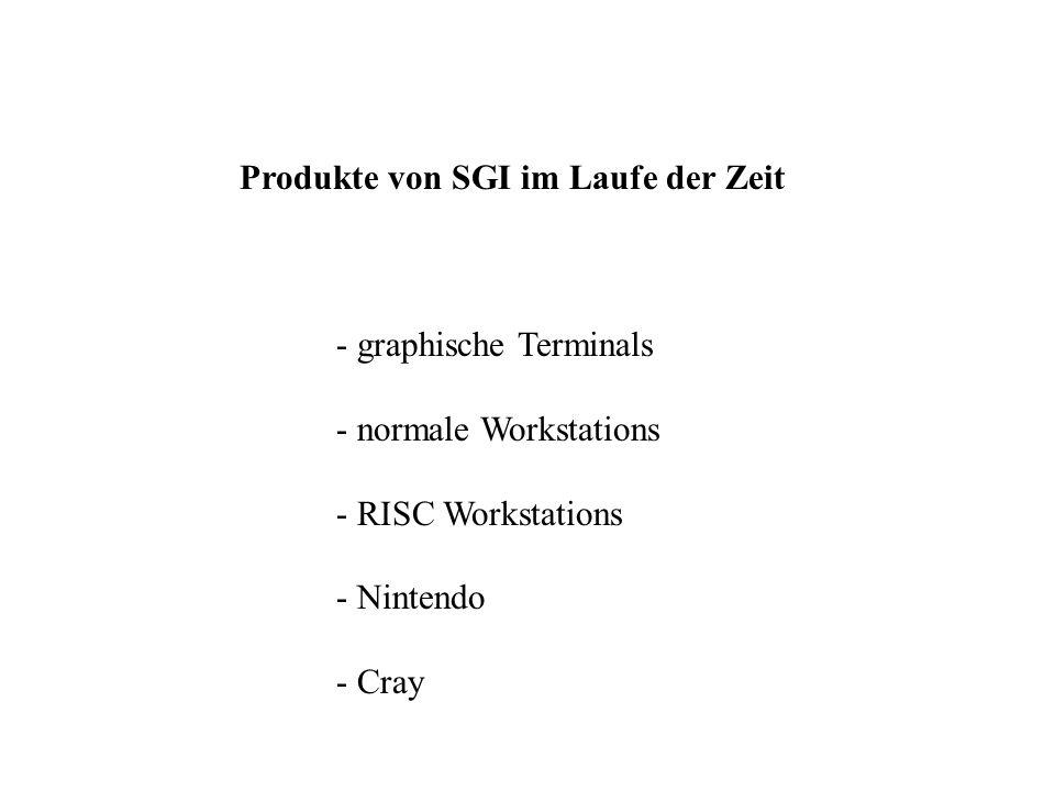 Produkte von SGI im Laufe der Zeit - graphische Terminals - normale Workstations - RISC Workstations - Nintendo - Cray