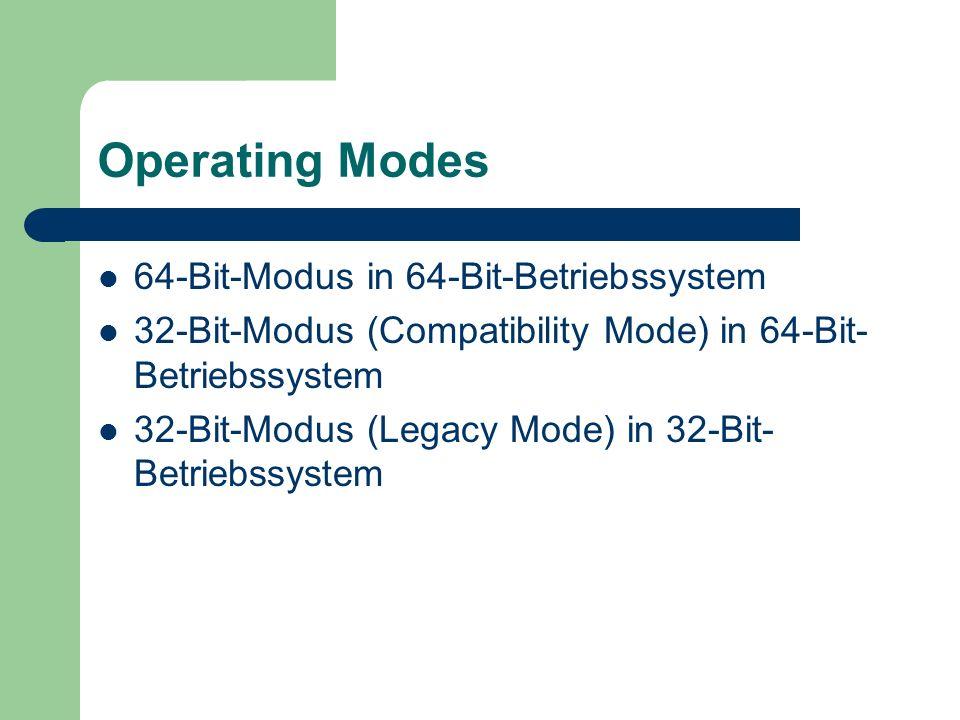 Operating Modes 64-Bit-Modus in 64-Bit-Betriebssystem 32-Bit-Modus (Compatibility Mode) in 64-Bit- Betriebssystem 32-Bit-Modus (Legacy Mode) in 32-Bit- Betriebssystem