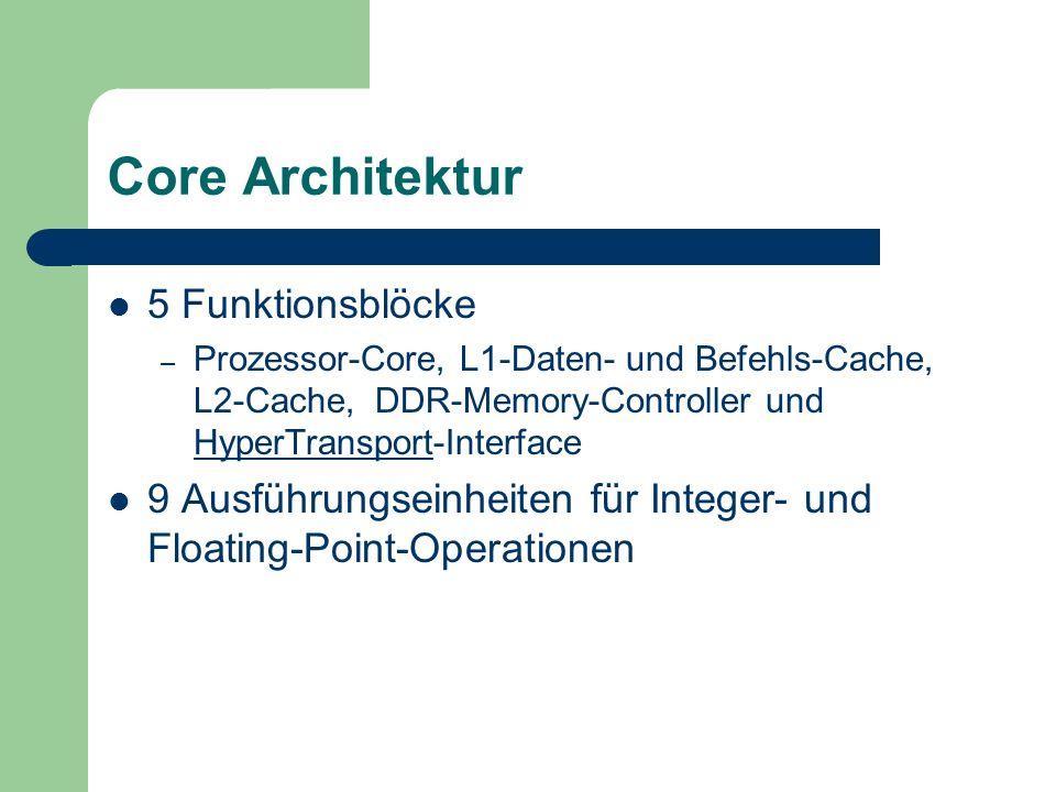 Core Architektur 5 Funktionsblöcke – Prozessor-Core, L1-Daten- und Befehls-Cache, L2-Cache, DDR-Memory-Controller und HyperTransport-Interface HyperTransport 9 Ausführungseinheiten für Integer- und Floating-Point-Operationen