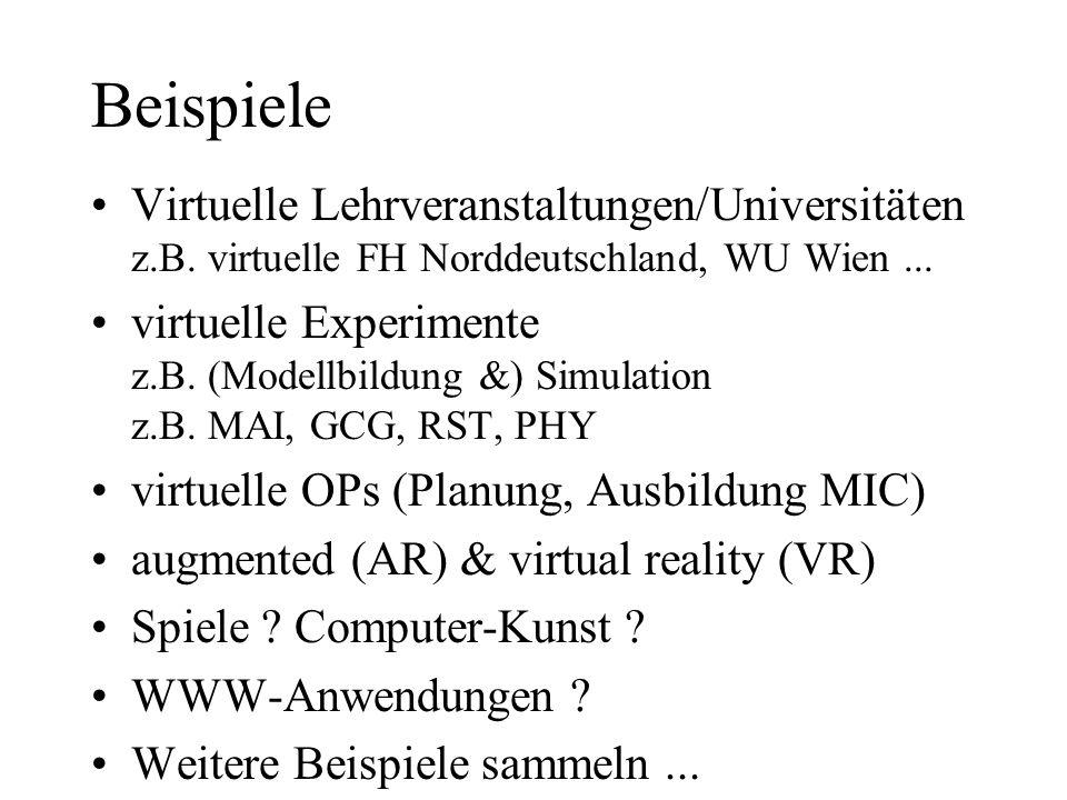 Beispiele Virtuelle Lehrveranstaltungen/Universitäten z.B. virtuelle FH Norddeutschland, WU Wien... virtuelle Experimente z.B. (Modellbildung &) Simul
