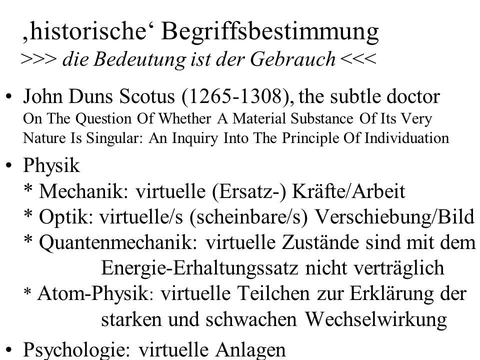 historische Begriffsbestimmung >>> die Bedeutung ist der Gebrauch <<< John Duns Scotus (1265-1308), the subtle doctor On The Question Of Whether A Mat