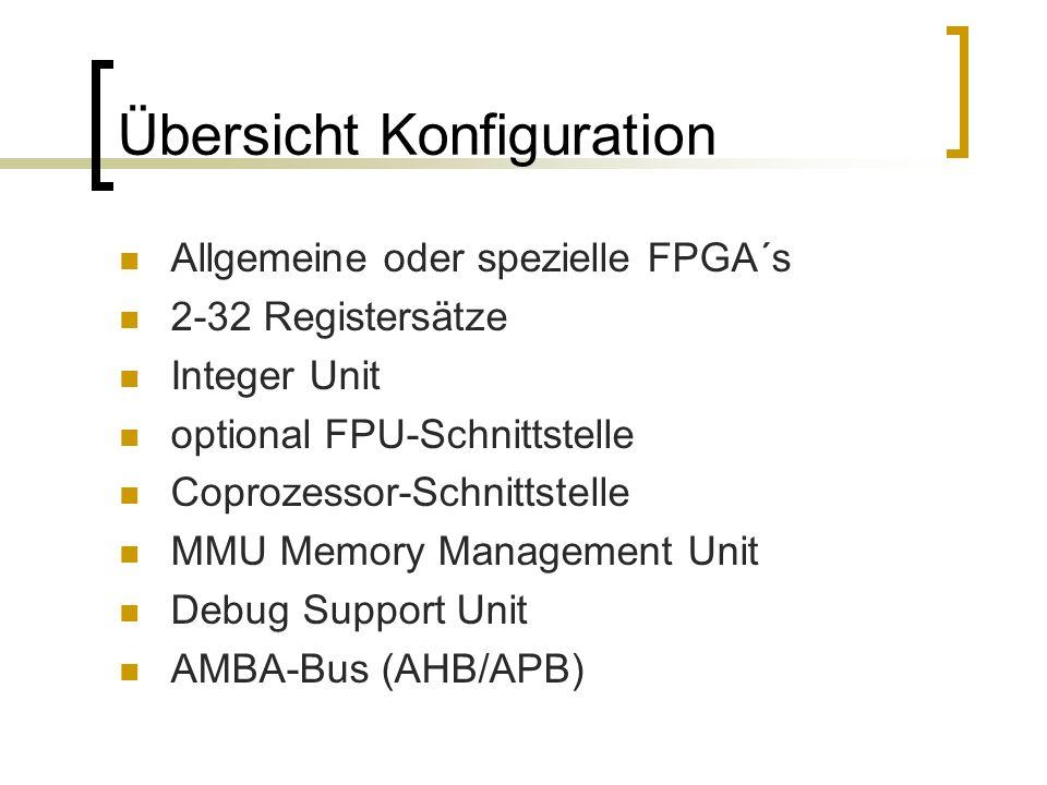 Übersicht Konfiguration Allgemeine oder spezielle FPGA´s 2-32 Registersätze Integer Unit optional FPU-Schnittstelle Coprozessor-Schnittstelle MMU Memory Management Unit Debug Support Unit AMBA-Bus (AHB/APB)