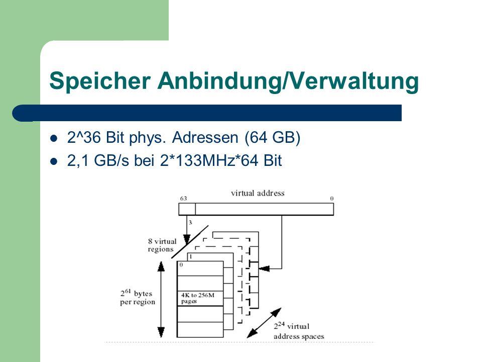 Itanium 2 Bessere Speicheanbindung 6,4 GB/s 2*200MHz*128 Bit L3 Cache on Die 8 Pipeline Stufen 2^44 Bit phys.