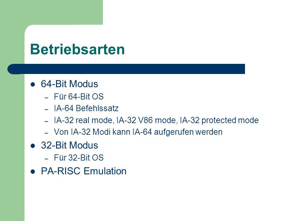 Pro und Contra Pro – Weg von x86 – Großer adressierbarer Speicherbereich – Ausnutzung von Parallelität Contra – Zu neu – Migration nicht zwingend – 64-Bit Software nicht ausgereift – I/O Performance nicht so toll