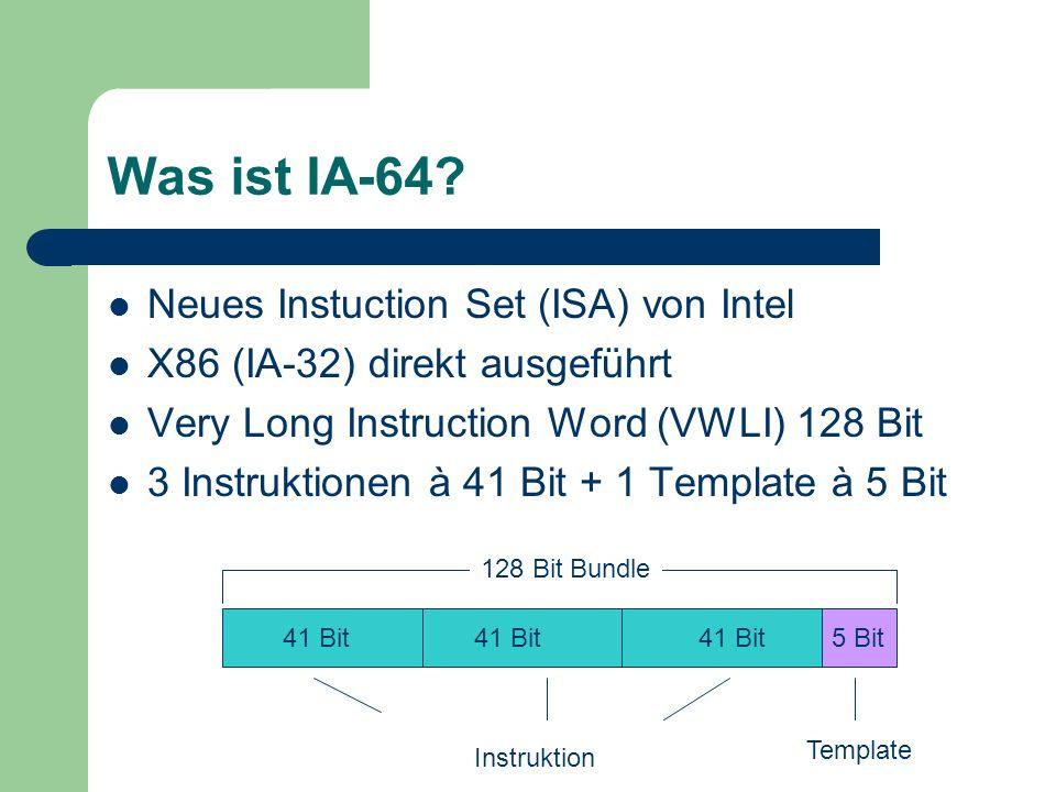 IA-64 ISA 3*7 Bit Operanden = 21 Bit 14 Bit Opcode 6 Bit Prädikaten- kombinationen Insgesamt 1 Bundle Group = mehrere Bundles bis Stop-Bit