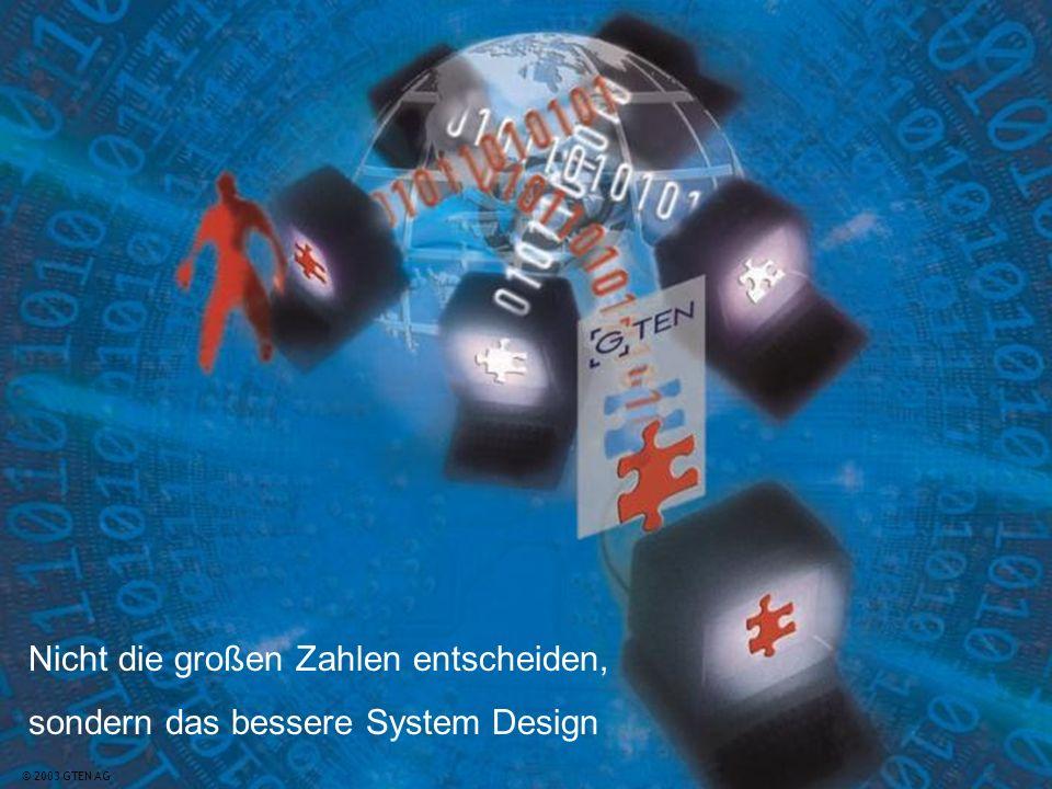 © 2003 GTEN AG20© 2003 GTEN AG Nicht die großen Zahlen entscheiden, sondern das bessere System Design