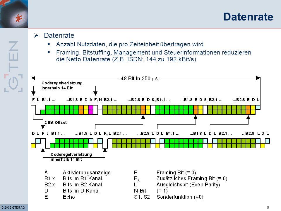 © 2003 GTEN AG5 Datenrate Anzahl Nutzdaten, die pro Zeiteinheit übertragen wird Framing, Bitstuffing, Management und Steuerinformationen reduzieren die Netto Datenrate (Z.B.