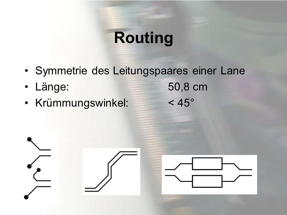 Routing Symmetrie des Leitungspaares einer Lane Länge: 50,8 cm Krümmungswinkel: < 45°