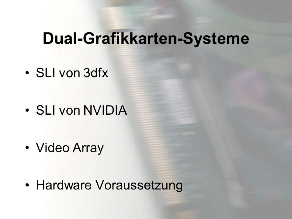Dual-Grafikkarten-Systeme SLI von 3dfx SLI von NVIDIA Video Array Hardware Voraussetzung