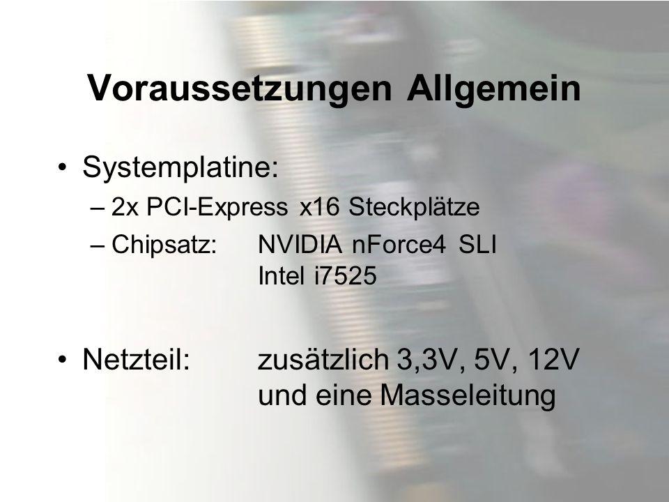 Voraussetzungen Allgemein Systemplatine: –2x PCI-Express x16 Steckplätze –Chipsatz:NVIDIA nForce4SLI Intel i7525 Netzteil: zusätzlich 3,3V, 5V, 12V un