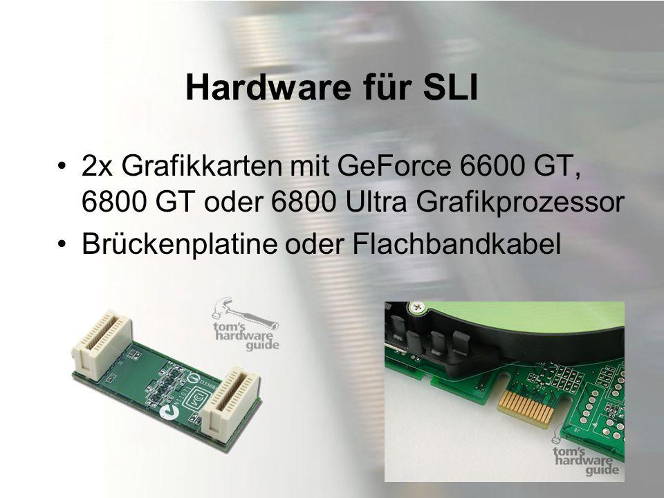 Hardware für SLI 2x Grafikkarten mit GeForce 6600 GT, 6800 GT oder 6800 Ultra Grafikprozessor Brückenplatine oder Flachbandkabel