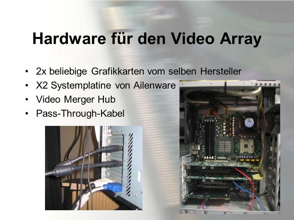 Hardware für den Video Array 2x beliebige Grafikkarten vom selben Hersteller X2 Systemplatine von Ailenware Video Merger Hub Pass-Through-Kabel