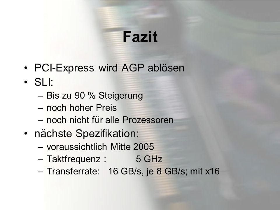 Fazit PCI-Express wird AGP ablösen SLI: –Bis zu 90 % Steigerung –noch hoher Preis –noch nicht für alle Prozessoren nächste Spezifikation: –voraussicht