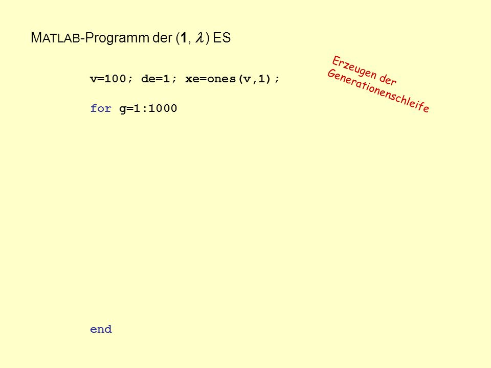 M ATLAB -Programm der (1, ) ES v=100; de=1; xe=ones(v,1); for g=1:1000 end Erzeugen der Generationenschleife