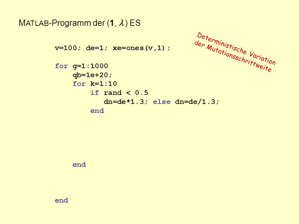 M ATLAB -Programm der (1, ) ES v=100; de=1; xe=ones(v,1); for g=1:1000 qb=1e+20; for k=1:10 if rand < 0.5 dn=de*1.3; else dn=de/1.3; end end end Deterministische Variation der Mutationsschrittweite