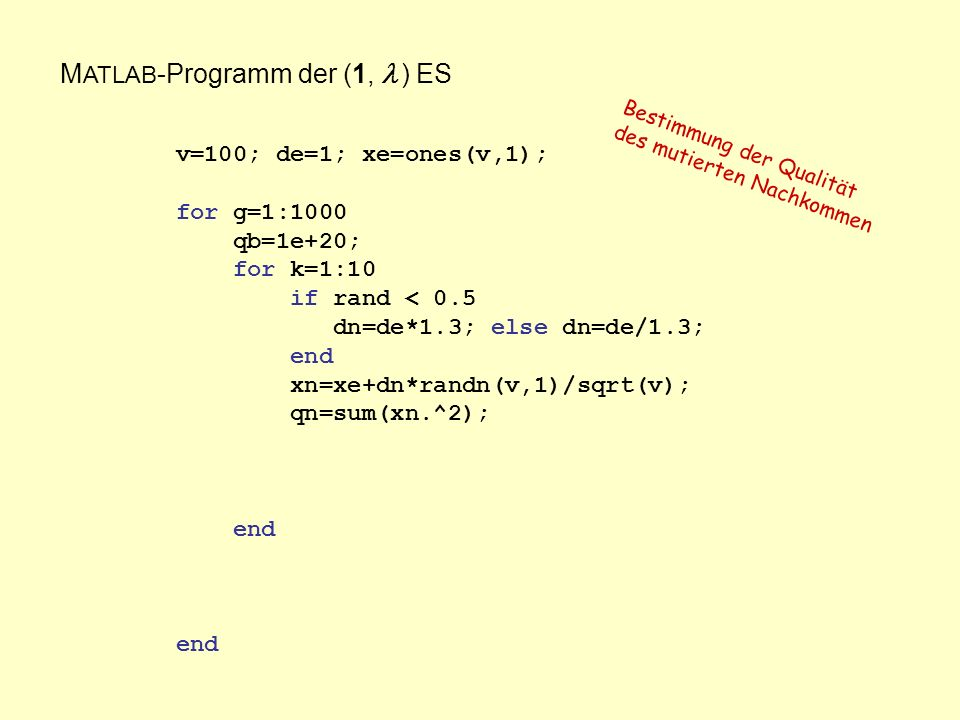 M ATLAB -Programm der (1, ) ES v=100; de=1; xe=ones(v,1); for g=1:1000 qb=1e+20; for k=1:10 if rand < 0.5 dn=de*1.3; else dn=de/1.3; end xn=xe+dn*randn(v,1)/sqrt(v); qn=sum(xn.^2); end end Bestimmung der Qualität des mutierten Nachkommen