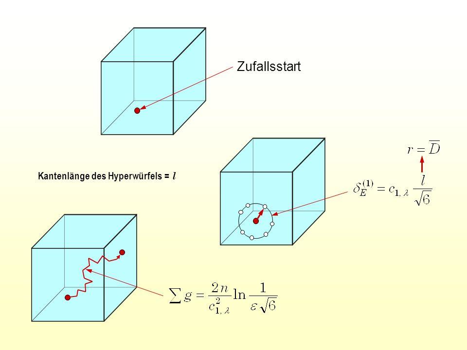 Kantenlänge des Hyperwürfels = l Zufallsstart