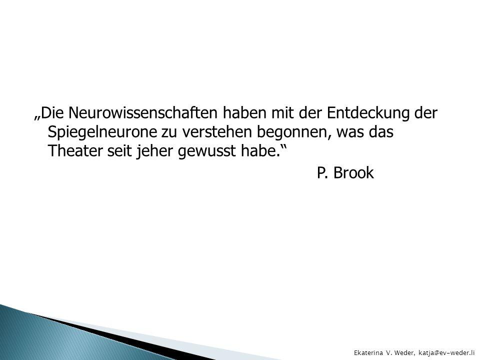 Die Neurowissenschaften haben mit der Entdeckung der Spiegelneurone zu verstehen begonnen, was das Theater seit jeher gewusst habe. P. Brook Ekaterina