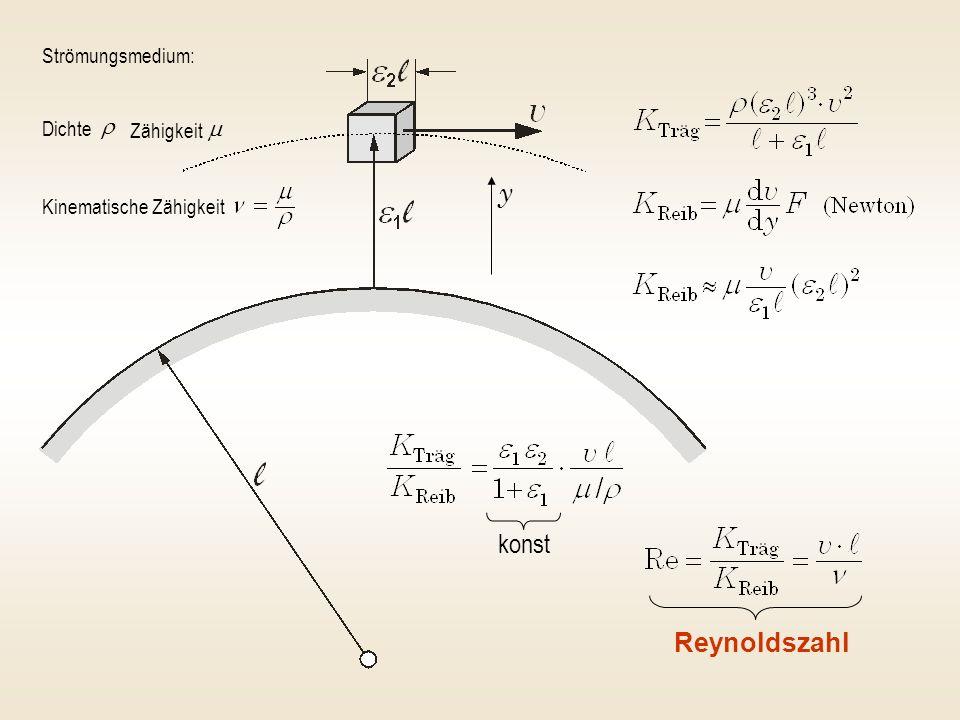 konst Reynoldszahl Strömungsmedium: Dichte Zähigkeit Kinematische Zähigkeit y