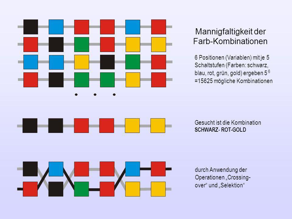 Mannigfaltigkeit der Farb-Kombinationen 6 Positionen (Variablen) mit je 5 Schaltstufen (Farben: schwarz, blau, rot, grün, gold) ergeben 5 6 =15625 mög