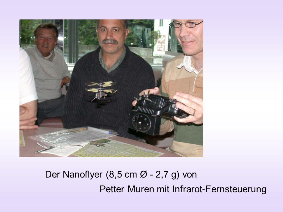 Der Nanoflyer (8,5 cm Ø - 2,7 g) von Petter Muren mit Infrarot-Fernsteuerung