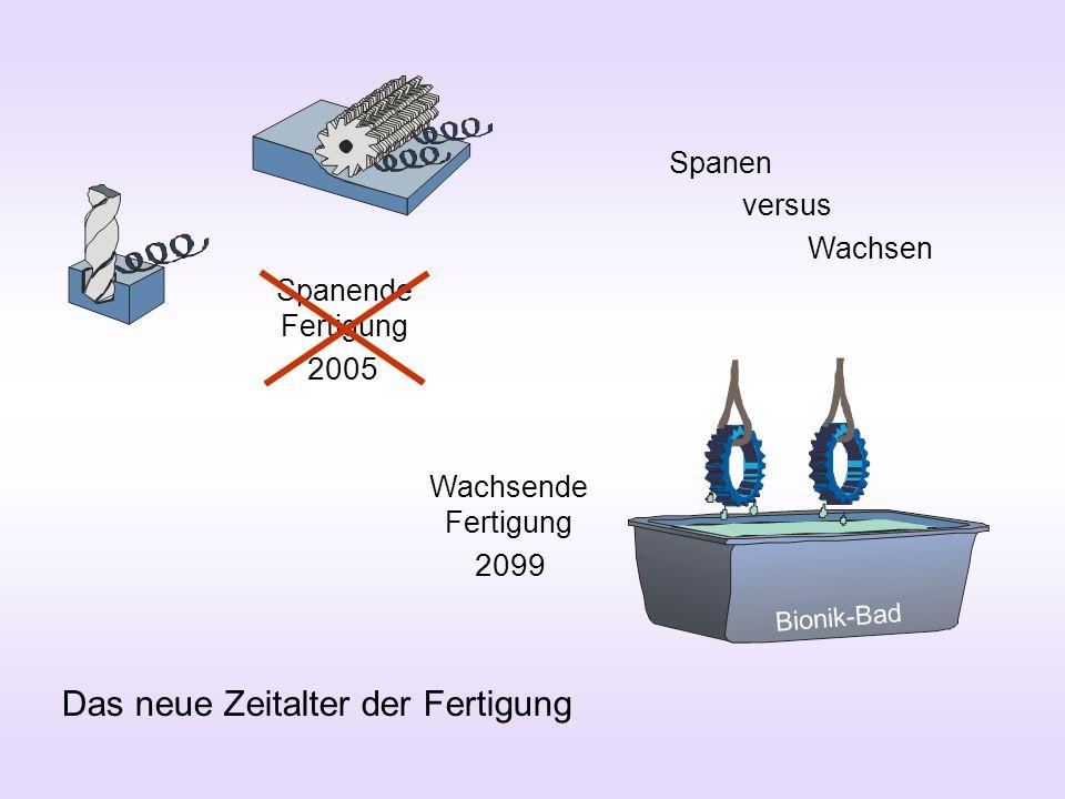 Spanende Fertigung Wachsende Fertigung Das neue Zeitalter der Fertigung 2005 2099 Spanen versus Wachsen Bionik-Bad